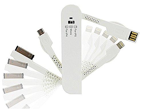 ESupFly, USB-Daten-/Ladekabel im Stile Schweizer Taschenmesser für Apple iPhone 4, 4S, 5, 5S, 6, 6 Plus, iPad 2, 3, iPad Air Mini, iPod, Samsung Note, Samsung Galaxy S6 / S6 Edge / S5 / S4, Mobiltelefon-Pads und MP3-Player mit Micro-USB, andere Micro-USB-Geräte