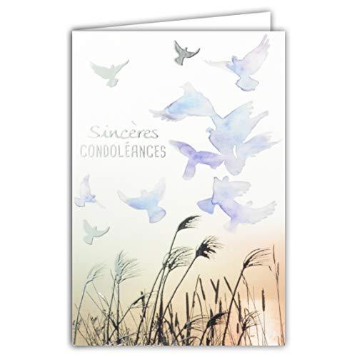 Afie 64-1063 Carte Sincères Condoléances Bleu Violet Gris Argenté Brillant Décès Deuil Vol Oiseaux Colombes Paix Herbes Graminées Roseaux Eau Fabriqué en France