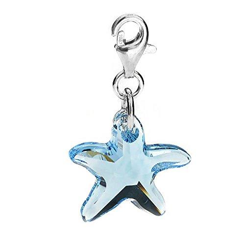Charm-Anhänger Seestern Sterling-Silber 925 Swarovski-Kristalle Aquamarin