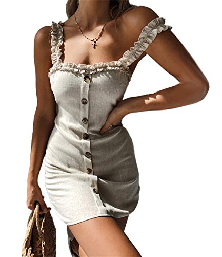 Ajpguot Donna Estivi Mini Vestiti con Bottoni Elegante Abiti a Tubino Sexy Senza Schienale Vestito da Partito Moda Corto Abito da Sera e Cerimonia