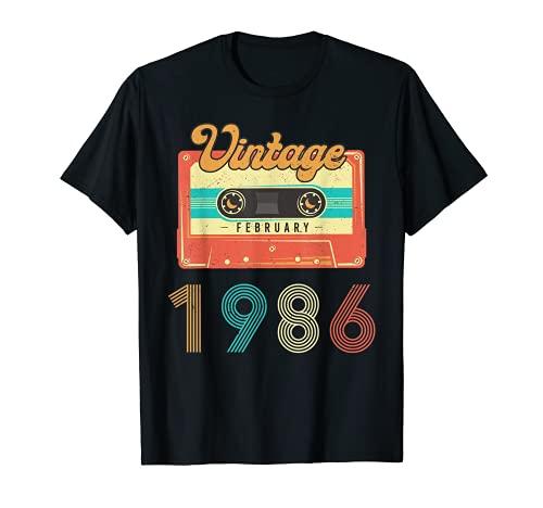 Nacido en Febrero 1986 34 años Cumpleaños Retro Cassette Camiseta