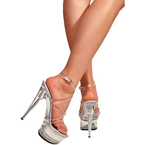15Cm / 5.91IN Mujeres De Cristal Peep Open Toe Plataforma Grueso Super Tacón Gladiador Sandalias con Correa En El Tobillo Sexy Pole Dancer Stripper Zapatos De Tacón,Transparente,37
