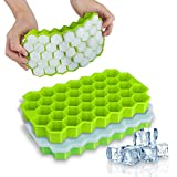 Ice Cube Trays, WETONG 2 Pack Silicone Ice Cube Molds with Lid Flexible 74-Ice Trays BPA Free, for Whiskey,...