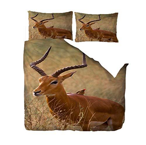 PANDAWDD 3 Piece New Modern Duvet Set Quilt Duvet Cover Bed Sheets Bedding Sets (Microfiber/Polyester) - Include 1 Duvet Set 2 Pillowcases,3D Animals - 260X220cm