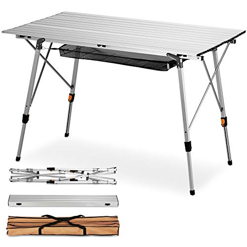 FiveJoy Outdoor Folding Portable Picnic Camping Table with Aluminum Legs Adjustable Height Roll Up Table Top Mesh Layer Outdoor Picnic Beach Backyard, 47.4' x 27.6',Weight Capacity 110LB
