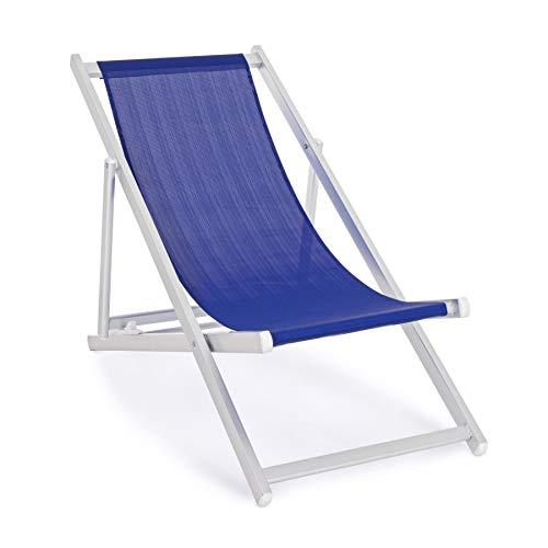 ARREDinITALY Lot de 4 chaises Longues Pliantes en Aluminium et textilène Bleu