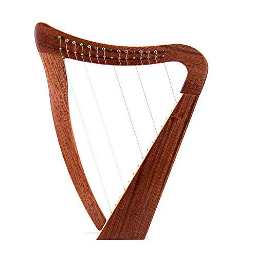 RROWER String Harfe, mit Hebel irischer Art mit Bag & Extra-Strings & Key inklusive Stil Massivholz, Imported Nylon, für Musikfreunde Anfänger Kinder Erwachsene (22 Zoll 15