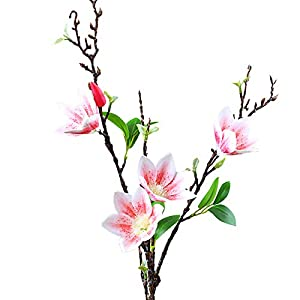 SACYSAC Artificial Magnolia Flower, Single Artificial Silk Flower, Used in Living Room, Bedroom and Study