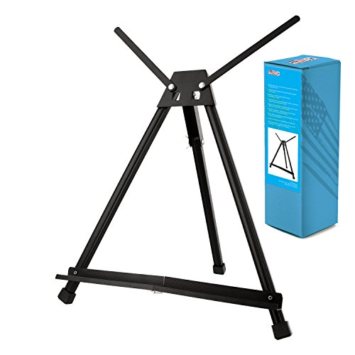 U.S. Art Supply 15 to 21 High Adjustable Black Aluminum Tabletop Display Easel with Extension Arm Wings - Portable Artist Tripod Folding Frame Stand - Holds Canvas, Paintings, Books, Photos, Signs