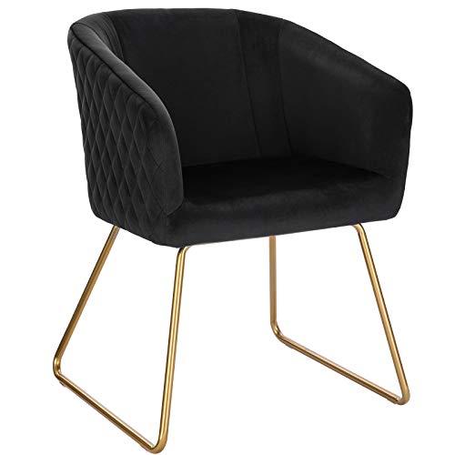 WOLTU BH271sz-1 1 Esszimmerstühle Küchenstuhl Polsterstuhl Wohnzimmerstuhl Sessel mit Armlehne, Sitzfläche aus Samt, Metall Gold Beine, Schwarz