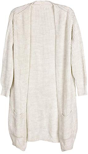 styleBREAKER Damen Grobstrick Cardigan mit aufgesetzten Taschen, Strickjacke ohne Verschluss, Strickmantel, OneSize 08010064, Farbe:Beige