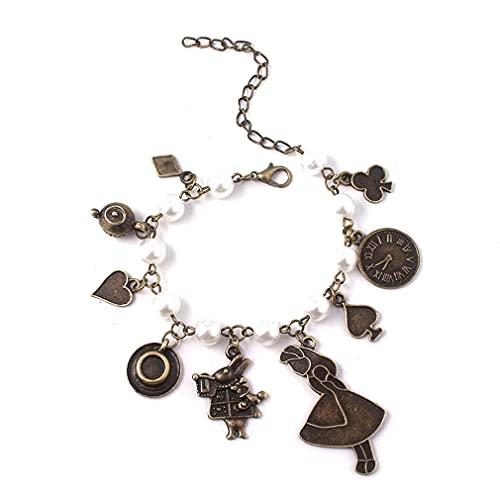 Pulsera de 2 piezas Alice charm - cierre de langosta ajustable - pulsera para mujeres y hombres hecha de aleación de zinc - regalo para mujeres de moda, joyas de películas