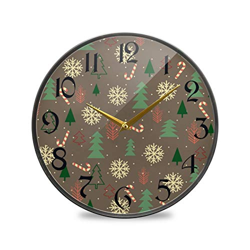 ART VVIES 9.5 Inch Round Wall Clock Non Ticking Silent Battery Operated Office Kitchen Bedroom Home Decorations - Christmas Snowflake Candy Cane