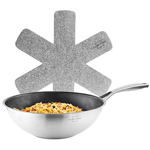 SILBERTHAL Sarten wok induccion 28 cm | Wok vitroceramica | Sarten honda antiadherente | Acero inoxidable