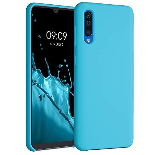 kwmobile Carcasa Compatible con Samsung Galaxy A50 - Funda de Silicona para móvil - Cover Trasero en Azul Celeste