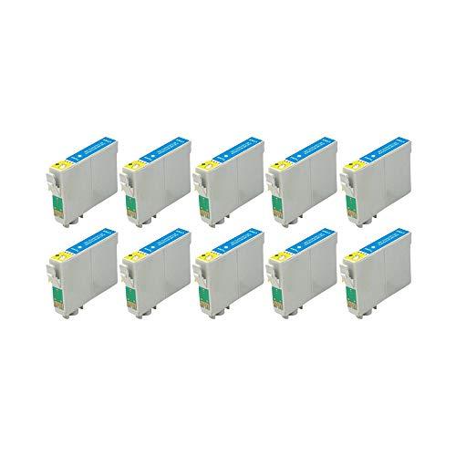 RudyTwos - 10 unidades de tinta para Epson Seahorse Cyan compatible con Stylus Photo R200, R220, R300, R300M, R320, R325, R330, R340, R350, RX300, RX320, RX500, RX600, RX644 0