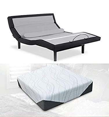 "Leggett & Platt Prodigy Comfort Elite Adjustable Bed with Your Choice of Bed Boss Cool Gel Memory Foam (California King + Peace 10"")"