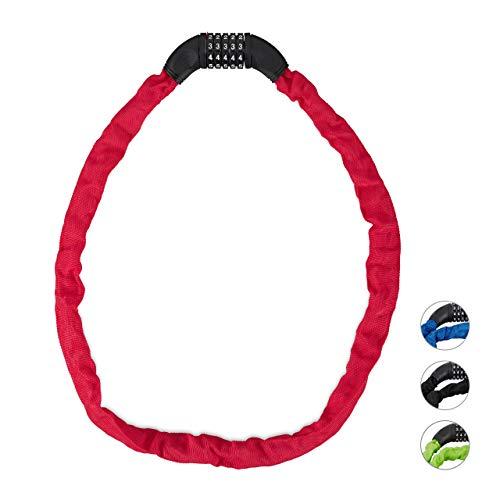 Relaxdays cijferslot fiets, veilig kettingslot met 5-cijferige code, 120 cm, stalen fietsslot rood