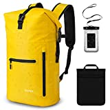 Gonex Waterproof Backpack for Men, Floating Dry Bag, 35L Waterproof Travel Roll Top Fishing Backpack Keeps Gear Dry for Kayaking Boating Rafting Fishing Swimming Beach with Phone Case Yellow