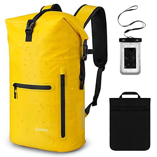 Gonex 35L Wasserdichter Rucksack,Mit Laptophülle + Handytasche, Dry Bag Wasserdichter Packsack,Gelb