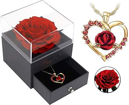 Rose Flor Preservada para Joyero Recuerdo De Boda Regalo del Día De San Valentín Cumpleaños De San Valentín Hermoso Regalo para La Madre