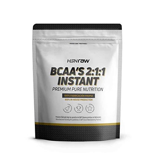BCAA en Polvo de HSN | Disolución Instantánea | Aminoácidos Ramificados Ratio 2:1:1 | Ayuda a Ganar Masa Muscular + Recuperador Muscular | Apto Dieta Vegana, Sin Lactosa, Sabor Neutro, 500 gr