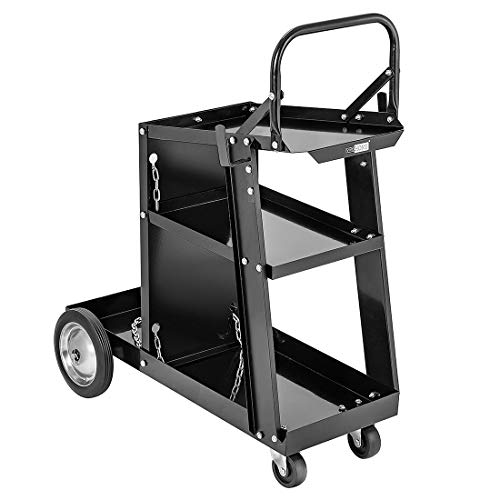 VIVOHOME Iron 3 Tiers Rolling Welding Cart with Tank Storage for TIG MIG Welder and Plasma Cutter Black