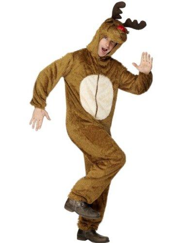 Smiffys, Herren Rentier Kostüm, Jumpsuit mit Kapuze, Größe: M, 31668