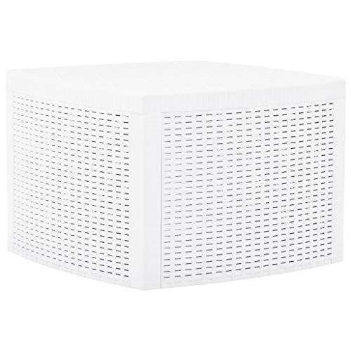 VidaXL Table d'appoint avec espace de rangement résistant aux intempéries Table basse Table de jardin Table de balcon Table Blanc 54 x 54 x 36,5 cm Plastique