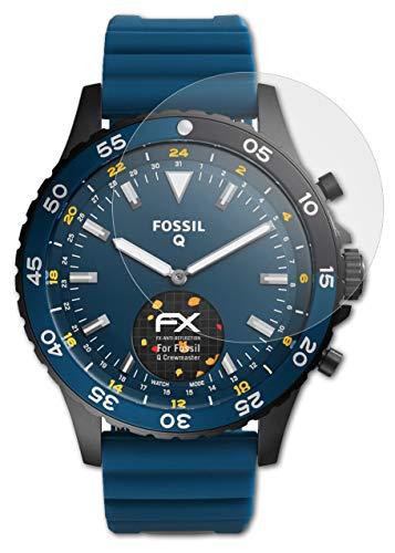 atFoliX Panzerfolie kompatibel mit Fossil Q Crewmaster Schutzfolie, entspiegelnde & stoßdämpfende FX Folie (3X)