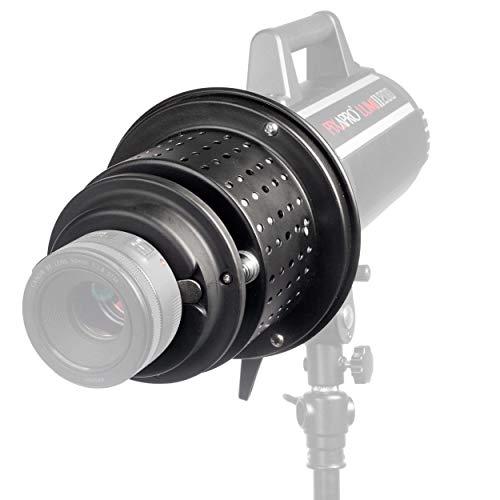 PIXAPRO EF Mount Optischer Snoot Spot Projektor Gobo Halter 9 x zufällige Dias Stroboskopblitz Dauerlicht LED Beleuchtung Fotografie Starke Langlebige Metallkonstruktion (für Bowens S-Type)