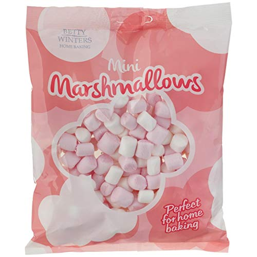 Betty Winters Mini Marshmellows 100g Fluffy and mouthwateringly tasty Stuff into cookies hide them in flapjacks or use to decorate birthday cakes Pack of 4