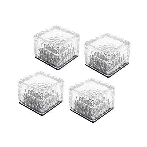 LITTOU Solar Glas Kristall Backstein Paver Gartenlicht Wasserdichte Eiswürfel Rocks LED Nachtlampe für Garten Hof Weg Terrasse Schwimmbad Teich Außendekoration (Weiß)(4 er Pack)