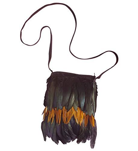 shoperama Bolso para mujer con plumas, india, hippie, pjaro, cuervo, malfica, Voodoo-Queen Festival Ethno