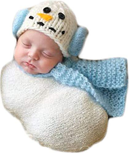 Coberllus Christmas Newborn Baby Photo Prop Boy Girl Photo Shoot Outfits Crochet Knit Costume Unisex Cute Infant Snowman hat Scarf (Light Blue), 0-3 Months