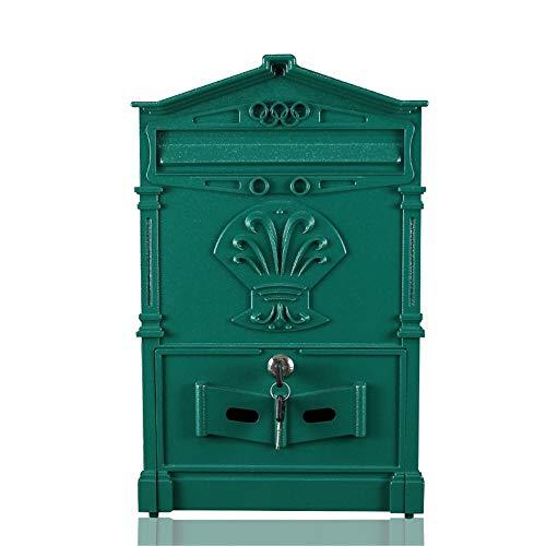 Mailbox Europese Retro Letter Box Villa Creative Mailbox buiten waterdichte wand gemonteerde Post Box Brievenbus (Color : Green, Size : 25x7.5x41cm)
