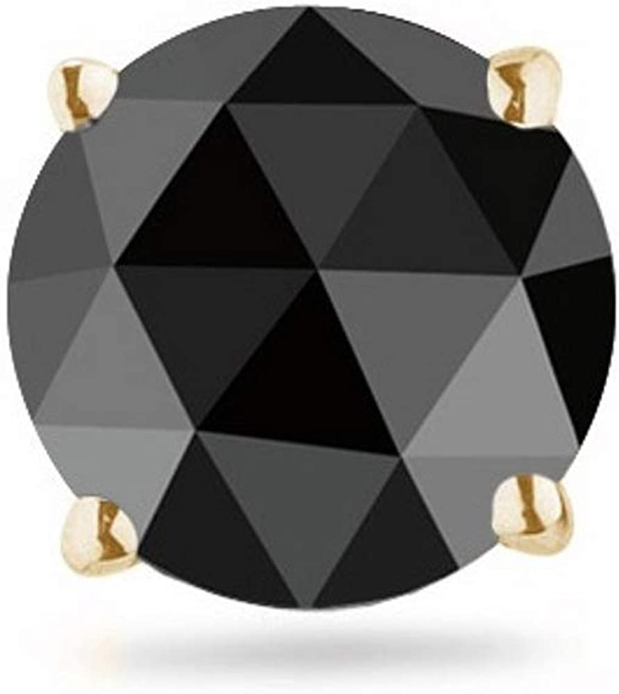 Round Rose Cut Black Diamond Men's Stud Earrings AA Quality in 14K Yellow Gold Available in Small to Large Sizes