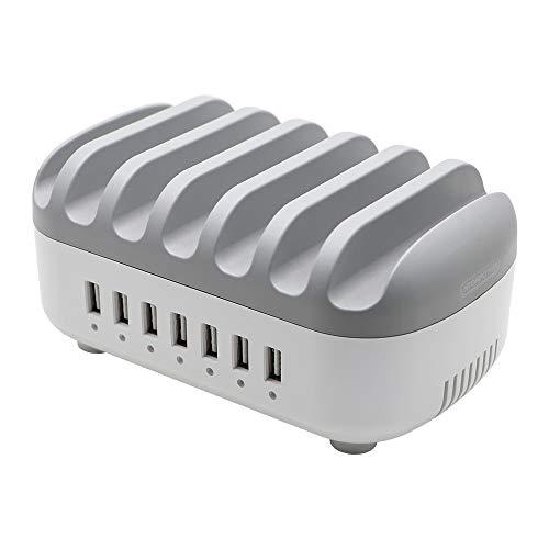 NTONPOWER USB Ladestation Mehrere Geräte 7-Port Multi USB Ladegerät Universell für Tablet Handy Kindle mit Halterung Ladegeraet Station 14A 5V- Grau, MEHRWEG
