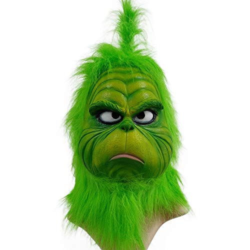 Christmas Mask Deluxe Latex Comedy Movie Halloween Party Props Green (Classic)