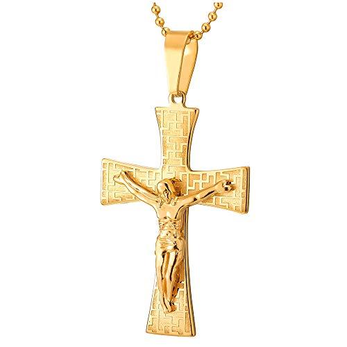 iMETACLII Hombre Oro Jesucristo Crucifijo Cruz, Collar con Colgante con Modelo Dominante Griego, Cruce, Acero, Bola Cadena 75CM