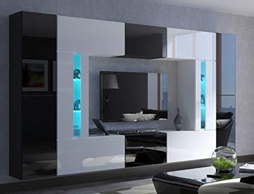 Home Direct Julian N67 Modernes Wohnzimmer Wohnwand Wohnschrank Schrankwand Möbel Mediawand (Schwarz-Weiß AN67-19BW-HG1, Led Blau)