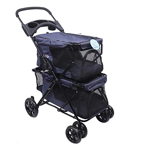 Double Pet Stroller for Small Medium Dogs & Cats, Detachable 4 Wheels Cats Stroller Double Dog Stroller with 2 Portable Travel Carrier/Folding/Suspension System