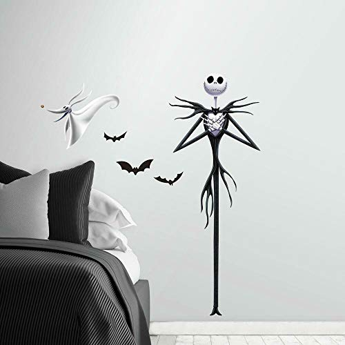RoomMates RMK3765GM The Nightmare Before Christmas Jack Peel And Stick Giant Wall Decals,black purple, white,1 Sheet 36.5 inches x 17.25 inches