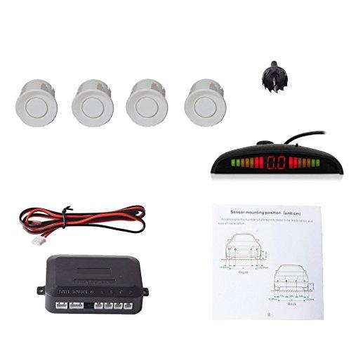 車載駐車 ソナー汎用コーナーセンサー4個 LED距離表示 高敏感パッキングセンサー 通知音 - ホワイト