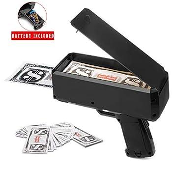 Wowok Black Money Gun Super Money Guns Paper Playing Spary Money Gun Make it Rain Toy Gun with Play Money & 9V Batteries Cash Gun for Game Party Supplies Black