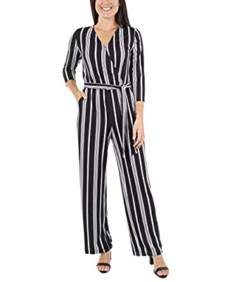 NY Collection Women's Stripe Faux Wrap Jumpsuit