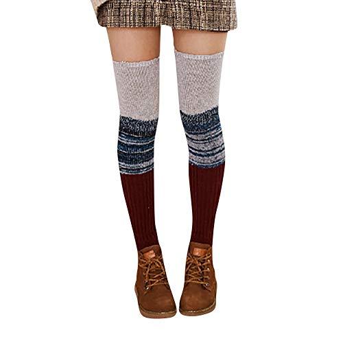 ODJOY-FAN Frau Warm Wintersocken Wolle Verdicken Patchwork Strickensocken Damen Halterlose Strümpfe Wärmer Gestrickt Häkeln Socken Leggings(D,1 Paar)