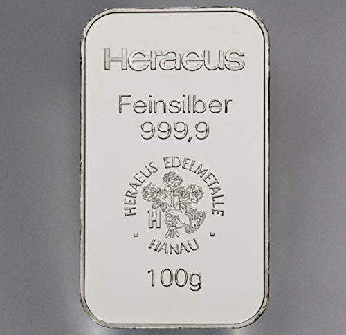 Silberbarren (Reinheit 999/1000) von 100 Gramm, geprägt in einer renommierten deutschen Edelmetallraffinerie.