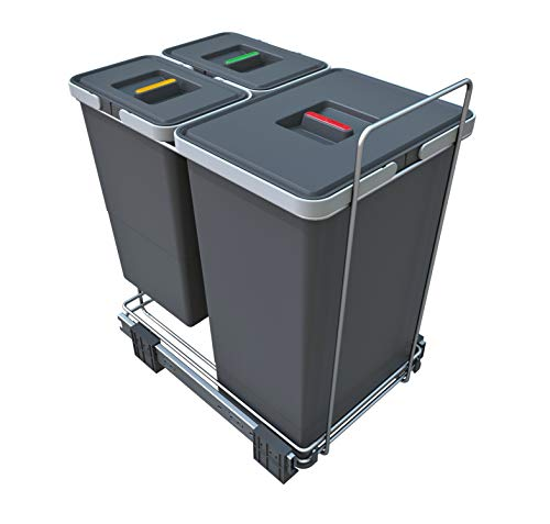 ELLETIPI ecofil PF0144B1Papelera Reciclaje extraíble para Base, plástico y Metal, Gris, 30x 45x 46cm