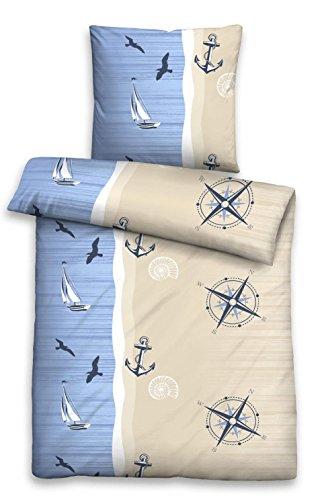 Castell 0024755 Seersucker Bettwäsche (Möwe Boot Anker) Garnitur mit Kopfkissenbezug (Baumwolle) 1x 135x200 cm + 1x 80x80 cm, maritim
